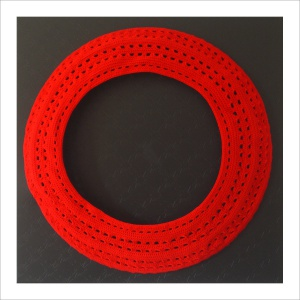 Ulrike Stolte A2 Applikationszyklus 100x100x35cm 2009 PVC Crocheted Wool Textile Circle Red