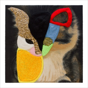 Ulrike Stolte A5 Applikationszyklus 100x100x15cm 2009 Chrocheted Wool Textile Cat