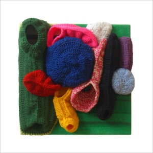 Ulrike Stolte a1 Applikationszyklus 30x30x10cm 2010 Textile Crocheted Wool Textile Organic