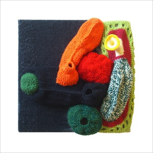 Ulrike Stolte a2 Applikationszyklus 30x30x15cm 2010 Textile Crocheted Wool Textile Organic