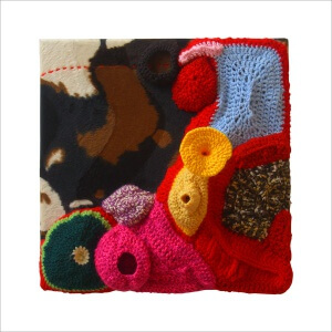 Ulrike Stolte a3 Applikationszyklus 30x30x15cm 2010 sold Textile Crocheted Wool Textile Organic Coral