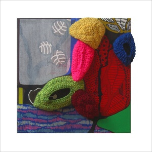 Ulrike Stolte a4 Applikationszyklus 30x30x8cm 2010 sold Textile Acrylic Crocheted Wool Textile Organic