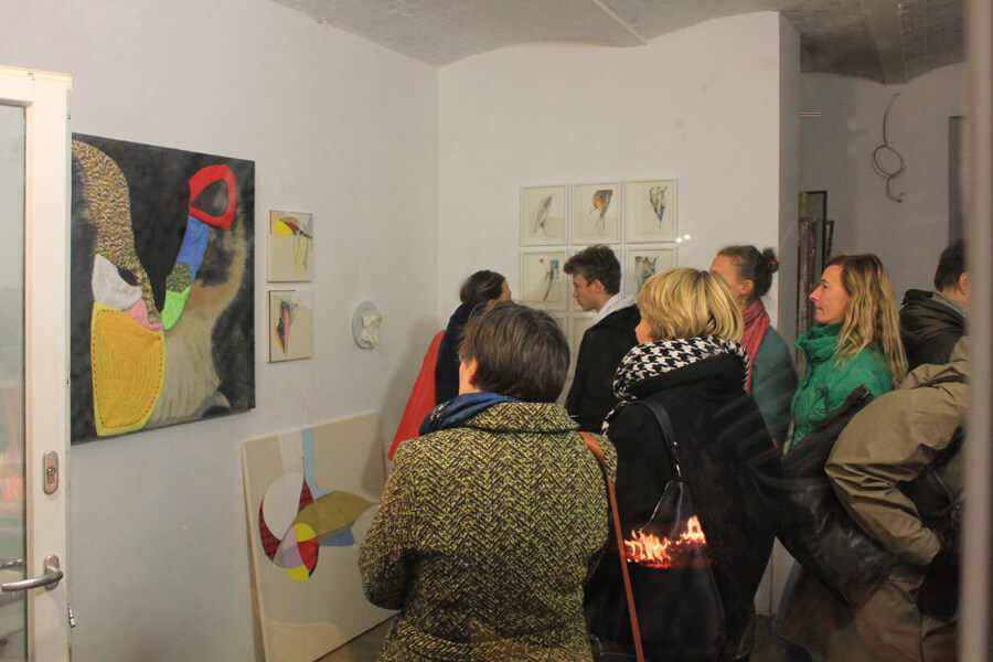 Ulrike Stolte Ateliertreffen Meike Dölp Weihnachten Open Studio Pappelallee Innenhof Berlin 2016