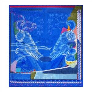 Ulrike Stolte D7-Haptikzyklus 235x247cm 2006 Tiger Blue Textile
