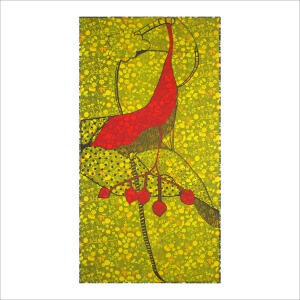 Ulrike Stolte F5-Fossilzyklus 100x200cm 2008 sold Textile Acryl Fossil Yellow Red