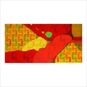 Ulrike Stolte F8-Fossilzyklus 200x100cm 2009 Textile Acryl Fossil Colorful Red