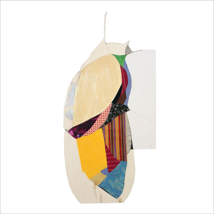 Ulrike Stolte H1 Textilcollage auf Holz 120 x 55 cm 2017