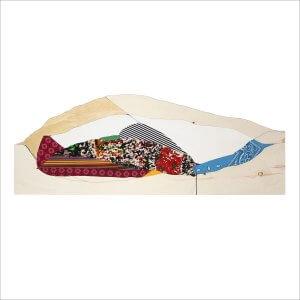 Ulrike Stolte H2 Textilcollage Holz 120 x 45 cm 2017