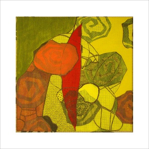 Ulrike Stolte M1 Mosaikzyklus2 30x30cm 2008 sold Fossil Textile Red Yellow