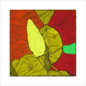 Ulrike Stolte M5 Mosaikzyklus2 30x30cm 2009 sold Flower Textile