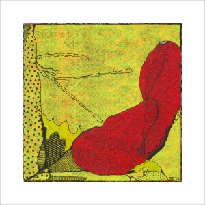 Ulrike Stolte M7 Mosaikzyklus2 30x30cm 2009 sold Flower Textile Red Yellow