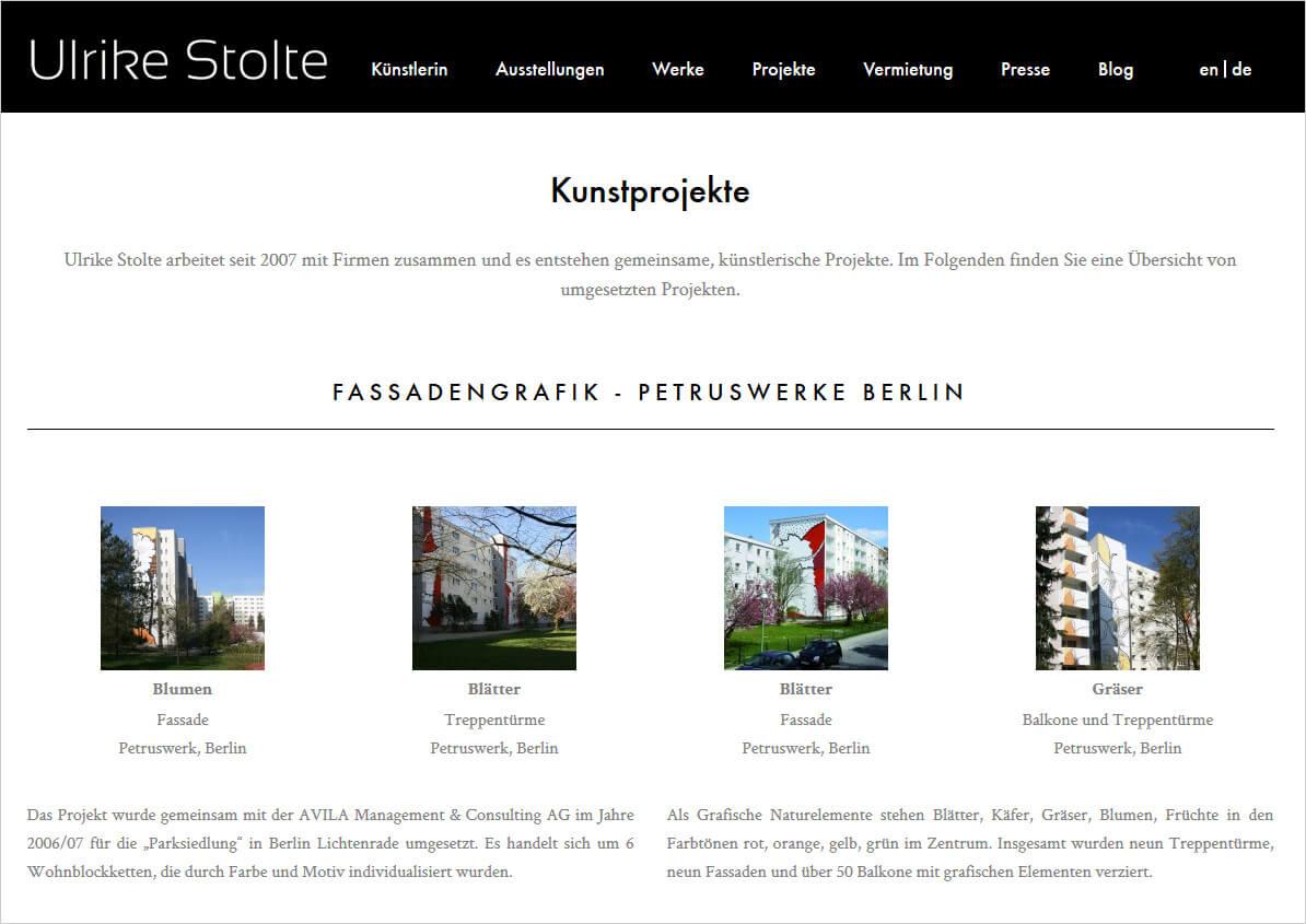 Ulrike Stolte Neue Webseite Online Art Berlin 2016 Kunstprojekte